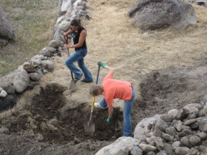 Sonja and Jeanette digging rocks in Herriman