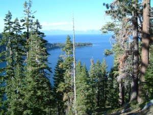 The Emerald Cove with main Lake Tahoe behind