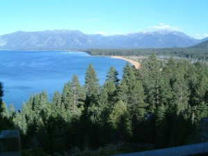 View of Lake Tahoe from a mountain road